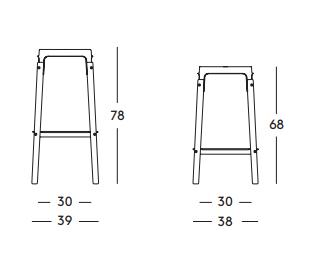 Dimensiones Taburete de Diseño Steelwood SD760 SD764 de Magis