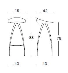 Dimensiones Taburete de Diseño Lyra SD30 de Magis