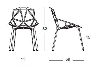 Dimensiones Silla de Diseño Chair One SD461 de Magis