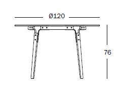 dimensiones Mesa de Diseño Steelwood TV924 de Magis