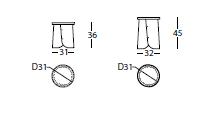Medidas Taburete de Diseño Tab de SANCAL