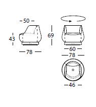 Dimensiones Butaca de Diseño Magnum 311.55.Z de SANCAL