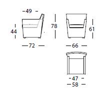 Dimensiones Butaca de Diseño Hera 006.51 de SANCAL