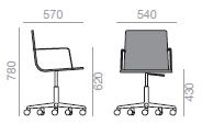 Dimensiones Silla Gitaroria de Diseño Lineal Corporate SO-0781 de ANDREU WORLD