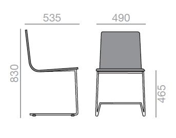 Dimensiones Silla de Diseño Lineal Corporate SI-0553 de ANDREU WORLD