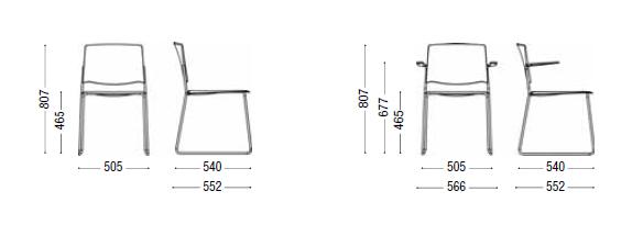 Dimensiones Silla de diseño EMA de ENEA