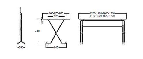 Dimensiones mesas plegable Folio de ENEA