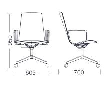 Dimensiones Silla de Diseño Giratoria Lottus Conference de ENEA