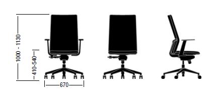 Dimensiones Silla Ergonómica Movado de ENEA