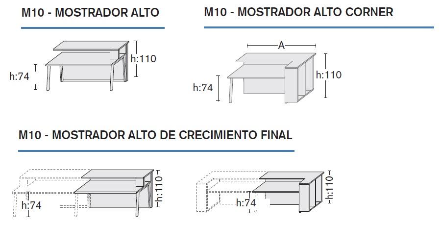 Dimensiones Mostrador blanco M10 FM3 de Forma 5