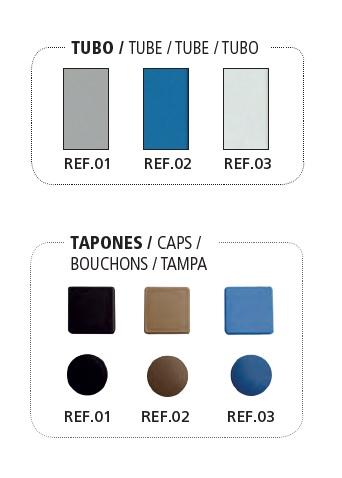 Acabados y colores del Banco vestuario Megablok en PVC