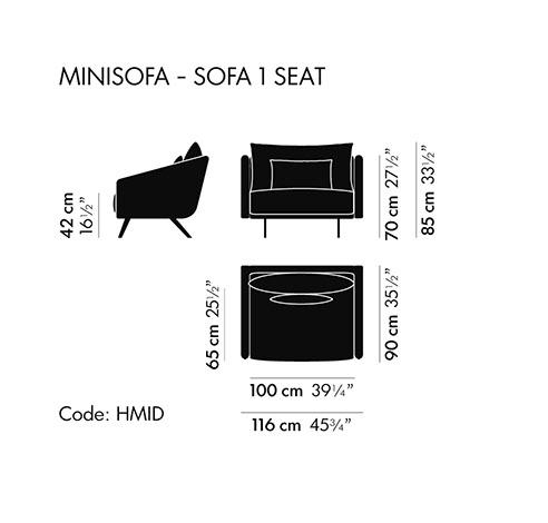 Dimensiones Butaca de Diseño Costura FES049 de STUA