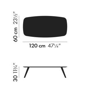 Dimensiones Mesa de Diseño Solapa S612F2 y S42 de STUA