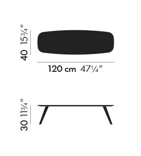 Dimensiones Mesa de Diseño Solapa S32 de STUA