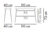 Dimensiones Mesa de Diseño Lau X 41130 + L 7330 de STUA