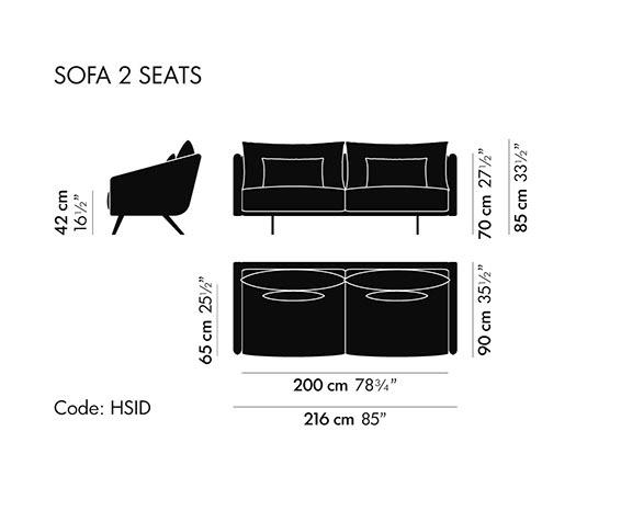 Dimensiones Sofá de Diseño Costura FEB001 de STUA