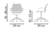Dimensiones Silla de Diseño giratoria Gas de STUA