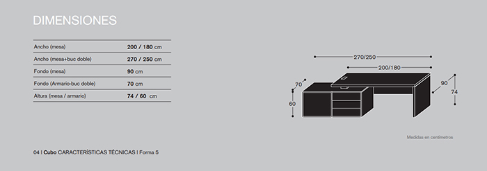 Dimensiones Mesa de Dirección Cubo GCU09 Y GCU10 de Forma 5